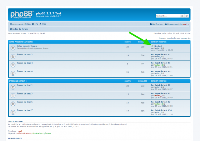 phpBB - Best Answer extension - Page d'index du forum.png
