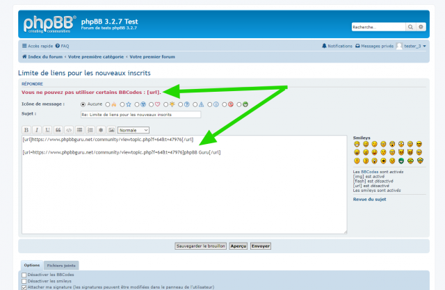 phpBB - Extension - Disallow links before x posts - Page de l'éditeur complet - Interdiction d'user du BBCode URL.png