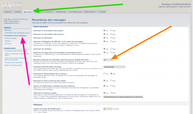 phpBB - Extension - Disallow links before x posts - Paramètre de l'outil.png