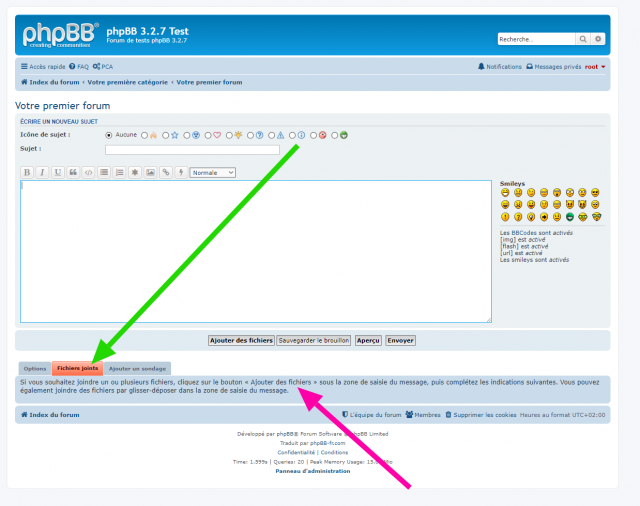 phpBB - Extension - Move Add files button - Page de l'éditeur complet - Mise en valeur de l'onglet Fichiers joints.png