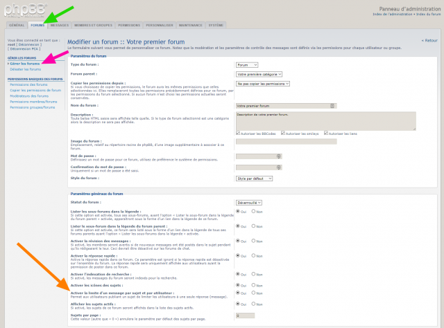phpBB - Modification - One post per topic - Gestion des forums - Paramètre.png
