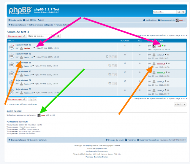 phpBB - Extension - Member Avatar & Status - Page d'un forum.png